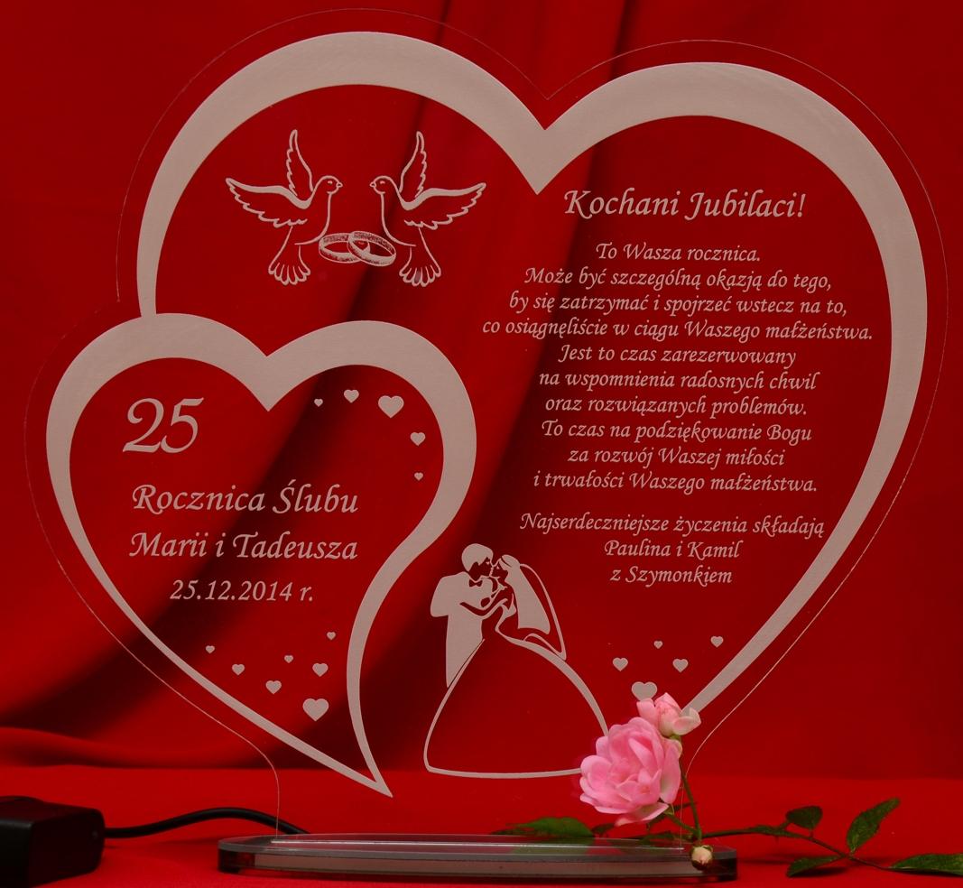 W22 Rocznica ślubu Jubileusz 10 20 30 40 50 Statuetka Prezent Led