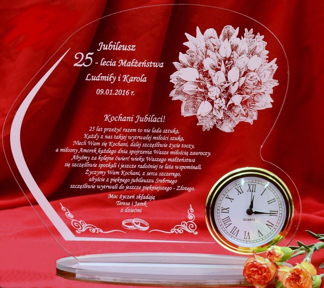 W37 Rocznica ślubu Jubileusz 10 20 30 40 50 Statuetka Prezent Zegar